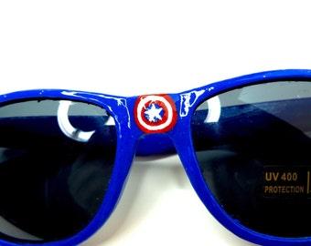 Captain America Inspired Blue Superhero Wayfarer Sunglasses With Flag Shield