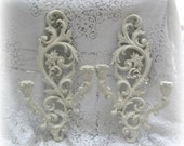 Vintage Candle Sconces, Ornate Antique White Shabby Chic Candle Holders, Pair of Candle Sconces