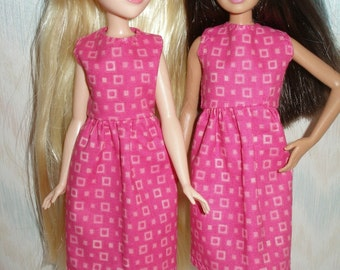 "Handmade 10.5"" teen sister fashion doll  clothes - hot pink print dress"