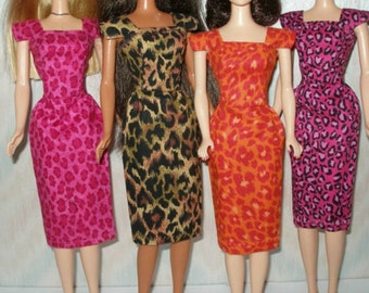 "Handmade 11.5"" fashion doll clothes - animal print cotton sheath - Your choice Hot pink, brown, orange, or pink/black"