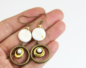 Neutral Gold Antique Earrings - White Beige Ivory Cream Natural Shell Antique Brass Gold Boho Everyday Dangle Earrings
