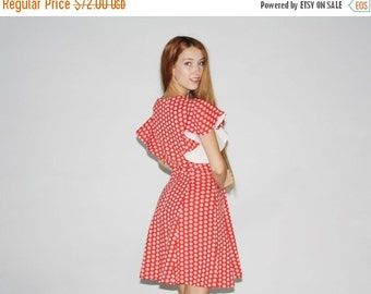 70% Off FINAL SALE - 1960s Vintage Red Polka Dot Short Dress  - Vintage 60s Dresses - Vintage Red Dress  -  WD0411
