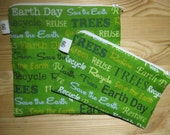 Back to School Reusable Zipper Sandwich & Snack Bags BPA Free Eco Friendly Set of 2 Earth day April 22 Save the Earth Recycle