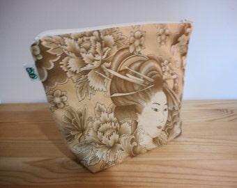 Fabric Zippered Pouch Clutch Bag Japanese Asian Geisha Lady print