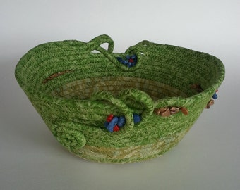 Coiled Fabric Basket, Coiled Basket, Hill Country Spring