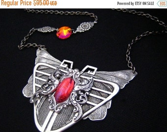CLEAROUT SALE 40% OFF Phoenix --Vintage West Germany Dragon's breath opal glass,Swarovski astral pink crystaL silver Victorian necklace