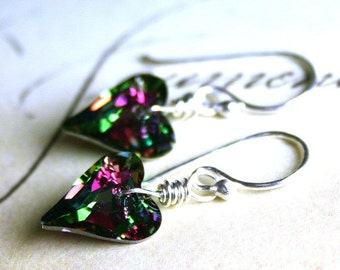 ON SALE Wild Heart Swarovski Crystal Earrings in Pink and Green - Electra - Handmade with Sterling Silver and Swarovski Crystal