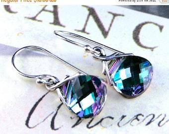 ON SALE Swarovski Briolette Crystal Earrings in Aqua, Pink and Lavender - Vitrail Light - Sterling Silver