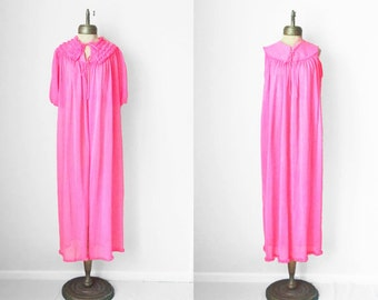 dayglow pink 1960s vintage sheer chiffon maxi lingerie set sz XL