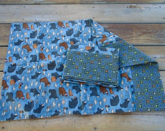 Flannel, standard pillowcases, bear pillow cases, fish pillow cases set of 2