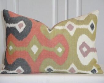 Schumacher - Darya Ikat In Caravan - 12x 18 - Decorative Pillow Cover - Orange - Chartreuse - Charcoal