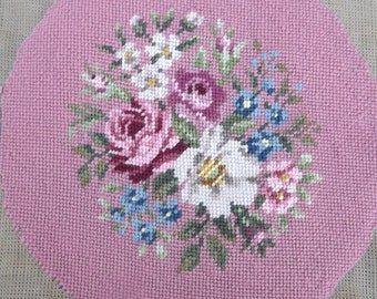 Pink/Mauve  Floral Needlepoint Canvas