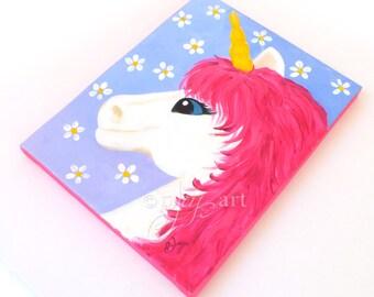 Unicorn Art for Girls Room Decor, Pink Unicorn Painting, Unicorn No.5 8x10 Acrylic painting
