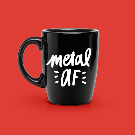 COFFEE Mug VINYL Decal Metal AF Decal Custom Hand Lettered - Custom vinyl decals for metal
