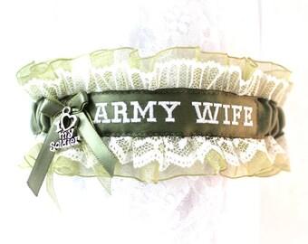 Army Wedding Garter  - Military Bride Garter - Military Wedding gift  - Army Bridal Garter - Army Wife Garter - Embroidered Garter.
