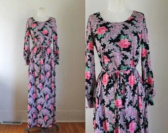 vintage 1970s maxi dress - PIVOINE black & fuschia floral dress / S