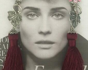 AURORA BOREALIS Vintage LISNER Silver Plated Merlot Rhinestones clip on earrings with Pink Tassel