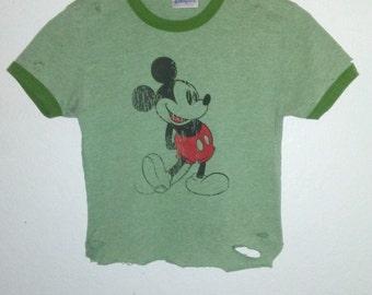 Crop Top / Mickey Mouse TShirt / Ringer TShirt / Cropped / Half Tee / Cartoon Graphic / Distressed / Indie / Grunge / RockNRoll / Foxy Cute