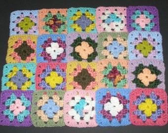 """20 Crochet  Granny Square Blocks - Multicolored - 4"""" X 4"""""""