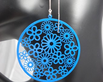 Large Blue Filigrees on Sterling Ear Threads- Threader Earrings-Necklace-FREE SHIPPING To U.S.-