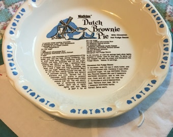 Vintage Dutch Brownie Recipe Pie Plate Watkins Made in the USa #3927