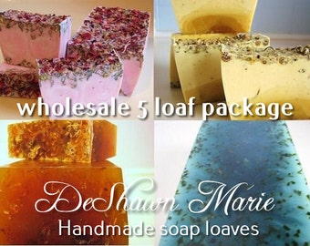 SOAP - 5 assorted 3LB Handmade Glycerin Soap Loaves, Wholesale Soap Loaves, Vegan Soap, Soap Gifts, Wedding Favors