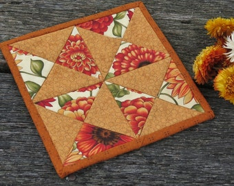Indian Summer Quilted Mug Rug Candle Mat - Reversible