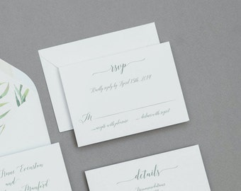 Calligraphy Wedding Invitations Set ,Modern Greenery Wedding Invitation,Eucalyptus Wedding Invites,Modern Greenery Spring Wedding Invitation