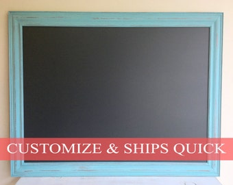 Teal Home Decor MAGNETIC CHALKBOARD for Sale Turquoise Framed Chalkboard Weathered Wood Ready to Ship Blue Wedding Sign Kitchen Chalk Board