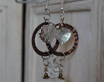 Stone & Leaf Dangle Earrings