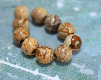 10 Picture Jasper 8mm Round Beads Gemstone Bead Large Hole 2.5mm