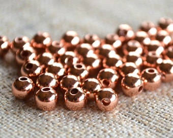 100pcs Copper Metal Beads Solid Shiny Round 8mm