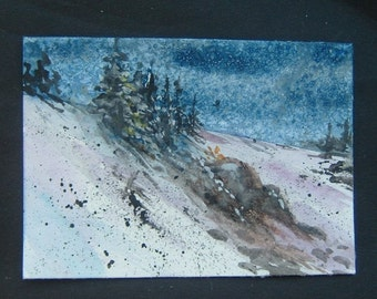aceo winter art landscape watercolour painting ref 337