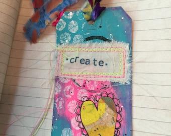 Create Mixed Media Altered Art Tag, Tag Art