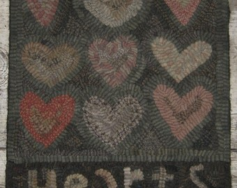 Primitive Folk Art Rug Hooking Pattern-Hearts