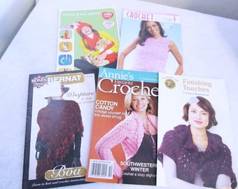 5 Crochet Booklets with ponchos, scarves, hats, purses, gloves, sweaters, boleros, shrugs