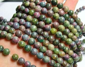 Ruby in Kyanite  - 8 mm round beads - full strand - 50 beads - RFG769
