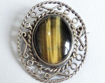 Sterling Silver Tiger's Eye Brooch