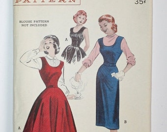 SALE Vintage 1950s Party Dress / 50s Fitted Waist Full Skirt Tea Party Dress Wiggle Dress / RARE Butterick Pattern 6065 / Bust 32