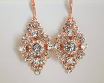 Bridal Earrings wedding earrings Rose gold Chandelier Earrings Swarovski crystal Rose Gold Crystal Earrings Rhinestone Earrings COLLEEN