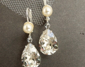 pearl bridal Earrings, Bridal Rhinestone Earrings, Statement Bridal Earrings, Swarovski Crystal earrings, teardrop wedding Earrings, ARIA