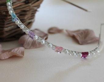 Rainbow Crystal And Pearl Butterfly Beaded Hair Band