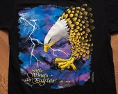 With Wings As Eagles T-Shirt, Christian Biker-Style Top, Vintage 90s