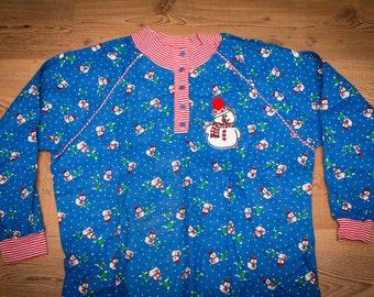 Snowman Nightgown, Jennifer Dale, ILGWU Union Made in USA, Vintage 70s