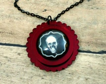 JOLLY ROGER- 25mm Red Mirror Scalloped Cameo Glass Cabochon Halloween Haunted Gothic Skull Laser Cut Acrylic Pendant Necklace