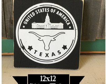 Rustic Texas Home Decor - Texas Longhorns - Wedding Gift - Vinyl Sign - Ships Free - Man Cave Sign - Gift for dad - gift for groom