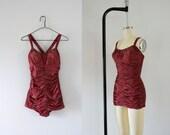 1950s Berry Blitz paisley romantic swimsuit / 50s Jantzen