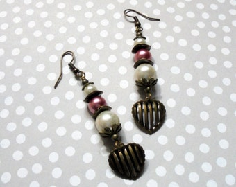 Pink and White Pearl Earrings (2452)