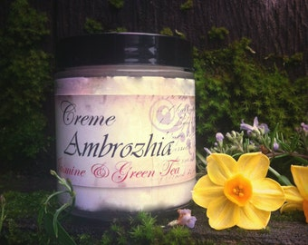 Organic Skin Care CREME AMBROZHIA - Jasmine and Green Tea Body Cream Moisturizer with shea butter, mango butter, evening primrose oil, vegan