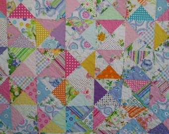 Baby Girl Crib Quilt, Sweet Vintage Modern Crib Quilt by Dreamy Vintage Sheets
